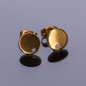 Пуссеты круглые, 304 Stainless Steel, золото, 8х1х0.8 м...