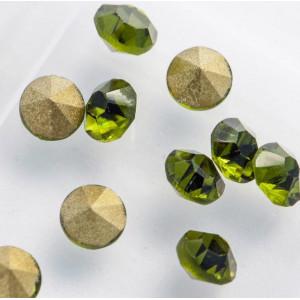 Стразы стеклянные ювелирные, цвет оливковый, 3.6 мм (уп...
