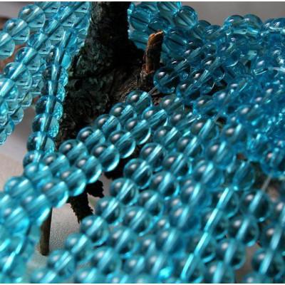 Бусина круглая стеклянная, голубой, 6 мм