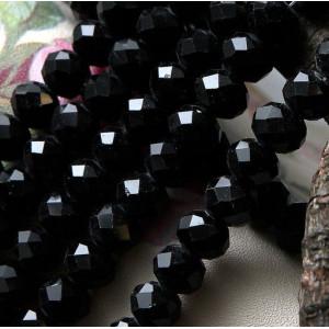Бусина абакус стеклянная граненая, черный, 10х7 мм...
