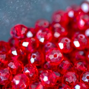 Бусина абакус стеклянная граненая, красный, 8х6 мм...