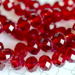 Бусина абакус стеклянная граненая, красный, 12х8 мм...