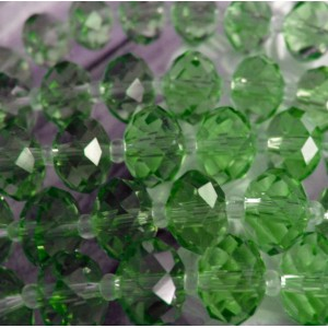 Бусина абакус стеклянная граненая, светло-зеленый, 12х8...