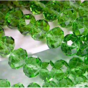 Бусина абакус стеклянная граненая, зеленый, 12х8 мм...
