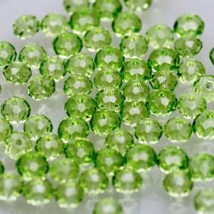 Бусина абакус стеклянная граненая, светло-зеленый, 6х4 ...