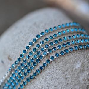 Цепочка для бижутерии со стразами, цвет Aquamarine/сере...