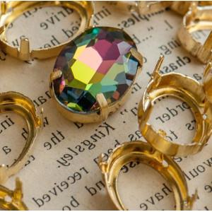 Цапы овальные, открытые, цвет золото, 16х13 мм...