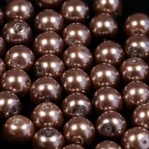 Бусина стеклянный жемчуг, коричневый, 14 мм...