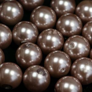 Бусина стеклянный жемчуг, какао, 16 мм...