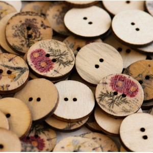 Пуговица деревянная, разные цвета, 20х3 мм...