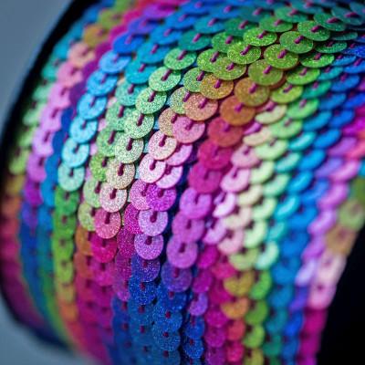 Пайетки на нити, разноцветный радужный, 6 мм