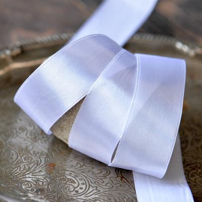 Лента, атлас, цвет белый, ширина 25 мм