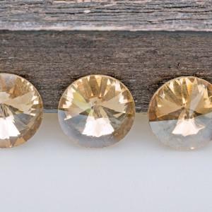 Кабошон стеклянный круглый Риволи, золотистый, 12 мм...