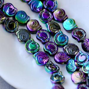 Бусина в виде ракушки, стекло, фиолетовый металлик, 12x...