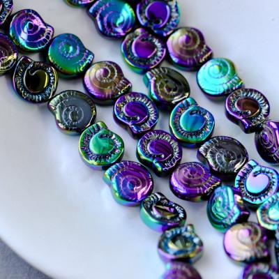 Бусина в виде ракушки, стекло, фиолетовый металлик, 12x11.5x4.5 мм