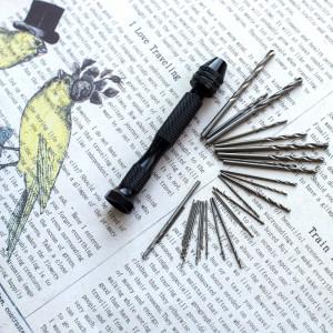 Инструмент, мини-дрель ручная со сверлами, набор с разн...