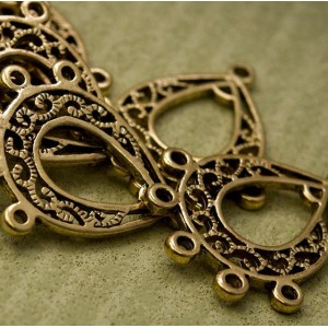 Коннектор-подвеска 1-5 отв, античное золото, 29.5x25x1....