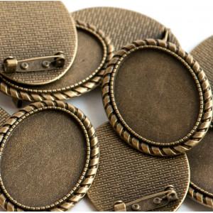 Заготовка для броши, овальная, античная бронза, 43х33х2...