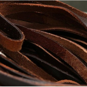 Кожаный шнур, плоский, цвет коричневый, 10х2.5 мм...