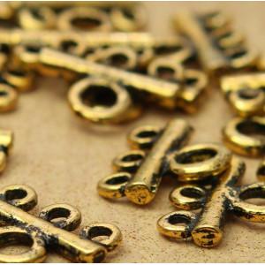 Коннектор 1-3 отв, античное золото, 13x16x3 мм...