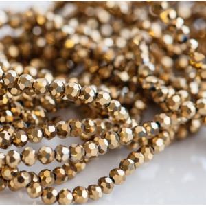 Бусина круглая стеклянная с гранями, золото, 3 мм (уп 4...