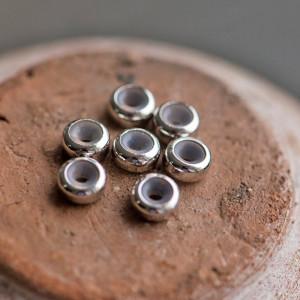 Бусина-стоппер, металл/пластик, покрытие Real Platinum ...