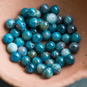 Бусина апатит, круглая, темно-голубой, 8 мм...