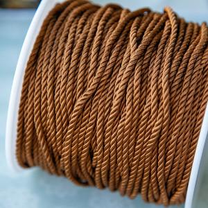 Витой полиэстеровый шнур, яркий коричневый, 3,5 мм...