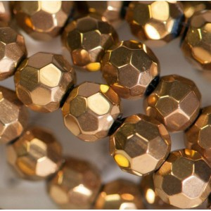 Бусина круглая стеклянная с гранями, бронзовый, 6 мм...