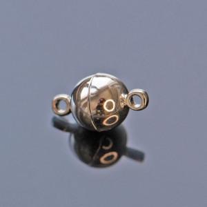 Застежка магнитная круглая, покрытие платина, 14,5x8 мм...