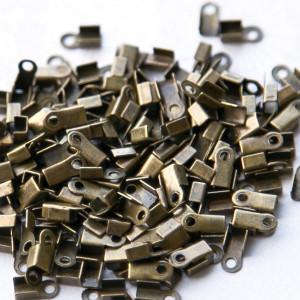 Зажим-концевик для шнура, античная бронза, 6x3x2,3 мм (...