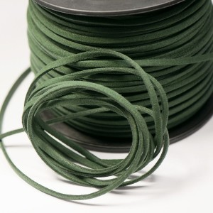 Шнур из искусственной замши, темно-зеленый, 3х1.5 мм...