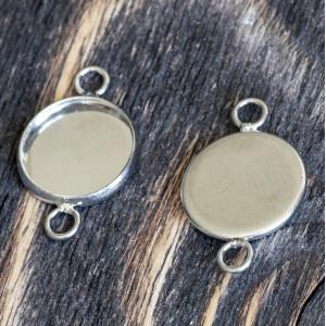 Коннектор-сеттинг 1-1 отв, цв. платина, 22x14x2 мм...
