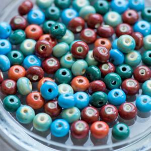 Бусина керамическая круглая, разные цвета, 8х5 мм...