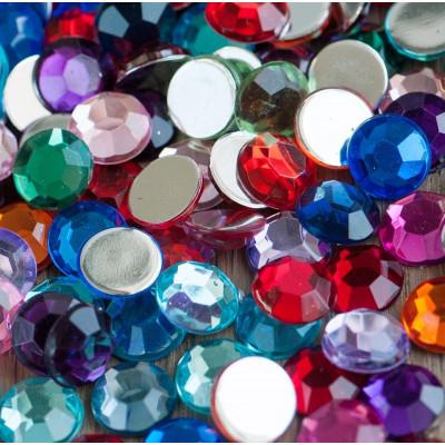 Кабошон акриловый, круглый, разные цвета, 10х3 мм
