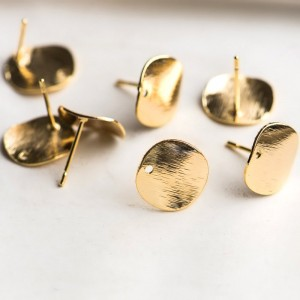Пуссеты-гвоздики, круг, покрытие Real 18K Gold Plated, ...