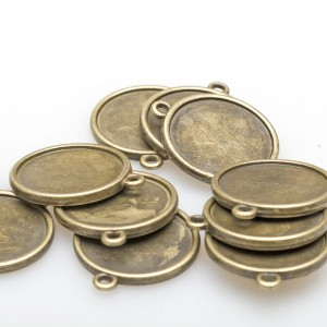 Сеттинг круглый  с местом под кабошон, античная бронза,...