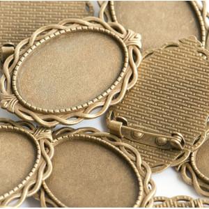Заготовка для броши, овальная, античная бронза, 42х29х2...