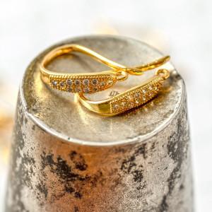 Швензы (основы для сережек), с цирконием,  цвет золото,...