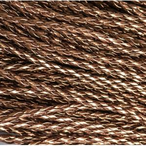 Шнур плетеный, из искусственной кожи, бронзовый, 3 мм...