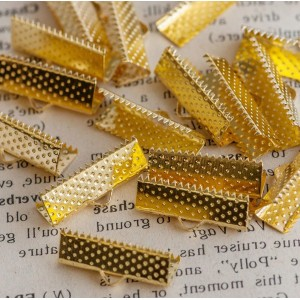 Зажим-концевик для ленты, золото, 20х8х5 мм...