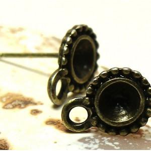 Пуссеты-гвоздики, античная бронза, 13х8.5 мм...