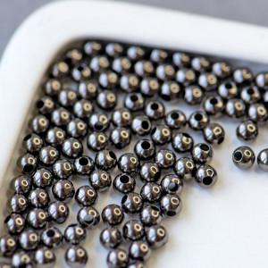 Бусина металлическая, черный, 4 мм (уп 30 шт)...