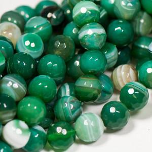 Бусина круглая агат, граненая, зеленый, окрашен., 12 мм...