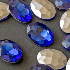 Кристаллы с фольгированной поверхностью, овал, цвет син...