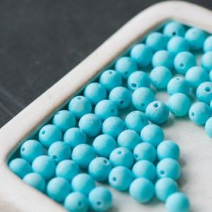 Бусина имитация нефрита, матовый голубой 6 мм...