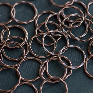 Коннектор, форма кольца, красная медь, 22x1.5 мм...