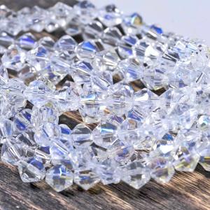 Бусина биконус стеклянная,  прозрачный с отливом, 8 мм...