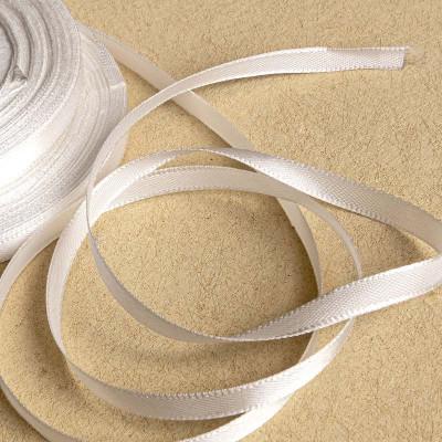 Атласная лента, белый, ширина 6 мм