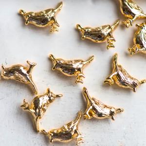 Подвеска в виде птички, покрытие Real Gold Plated, 12.5...